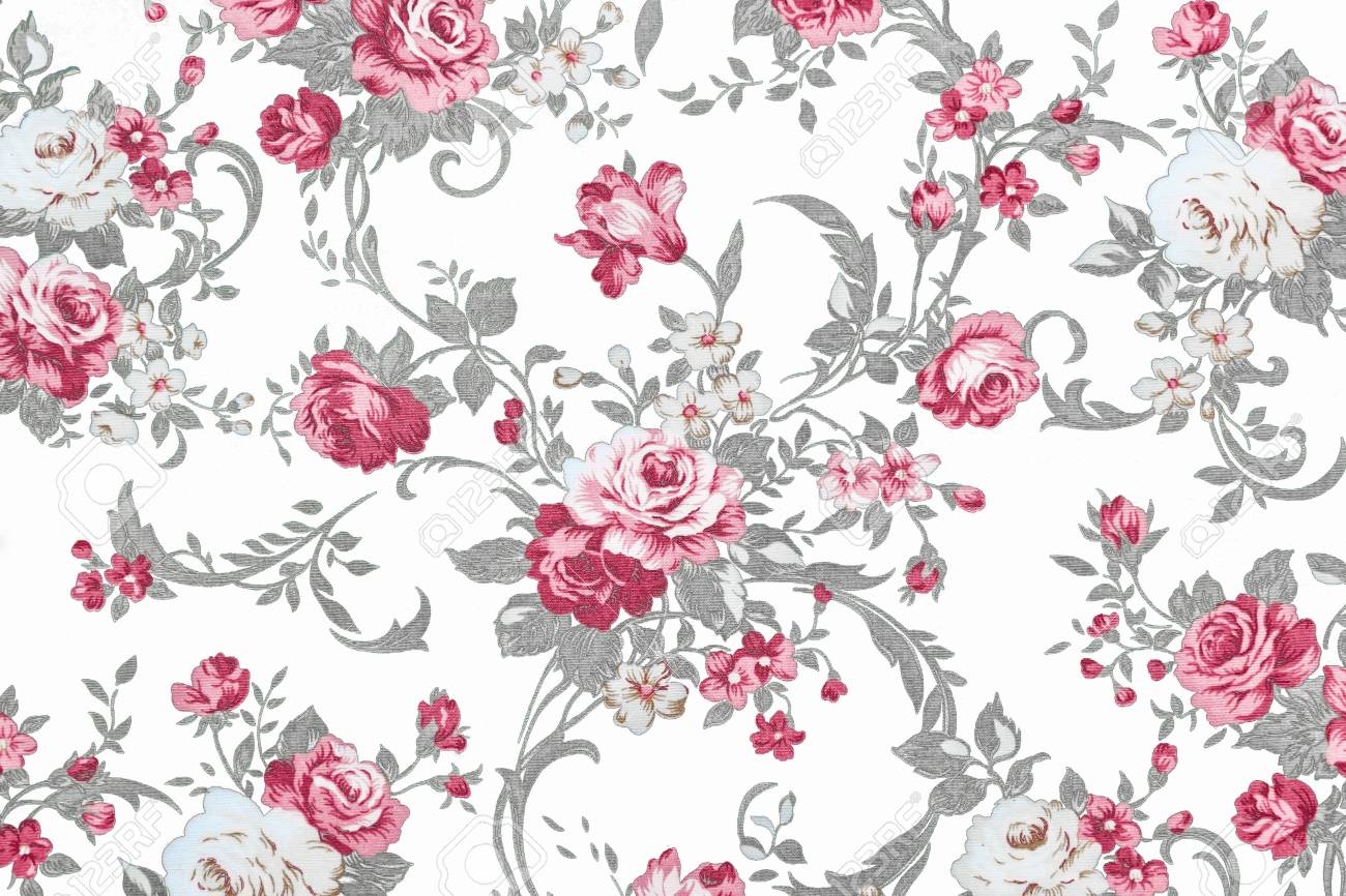 Rose Rouge Sur Fond Blanc De Tissu Fragment De Motif Tapisserie