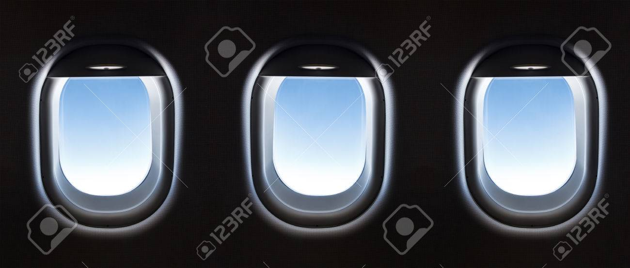 airplane window and Fantastic soft white clouds against blue sky. - 41966046