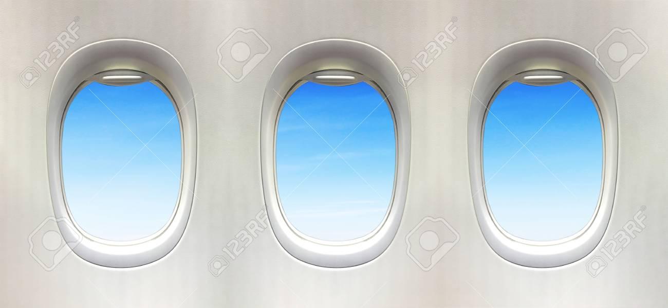Flugzeugfenster Und Fantastische Weichen Weißen Wolken Vor Blauem ...