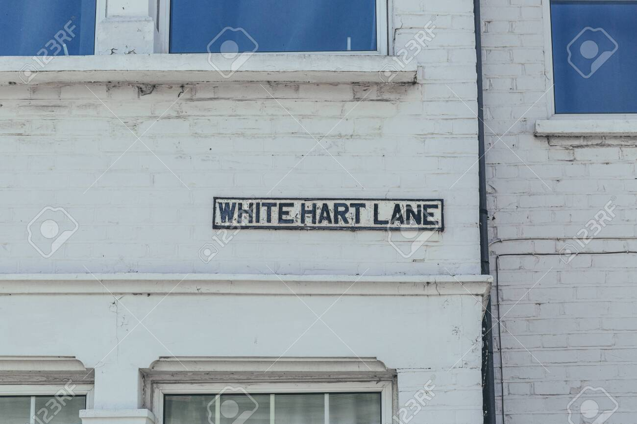 White Hart Lane Name Sign On A Brick Wall In Barnes District Stock Photo Picture And Royalty Free Image Image 145788575