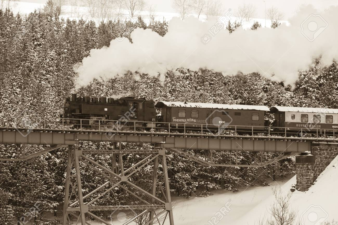 steam train, Oberwiesenthal - Cranzhal (Fichtelbergbahn), Germany Stock Photo - 5023750