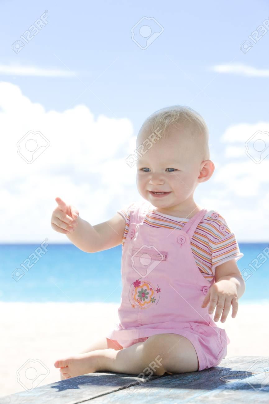 toddler on the beach, Barbados, Caribbean Stock Photo - 7162191