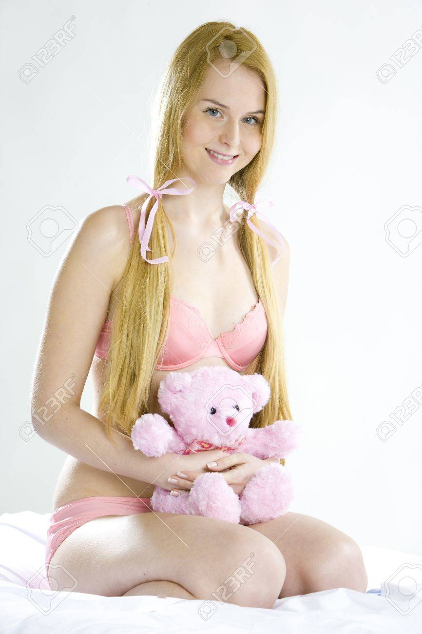 woman wearing underwear with teddy bear Stock Photo - 7468675