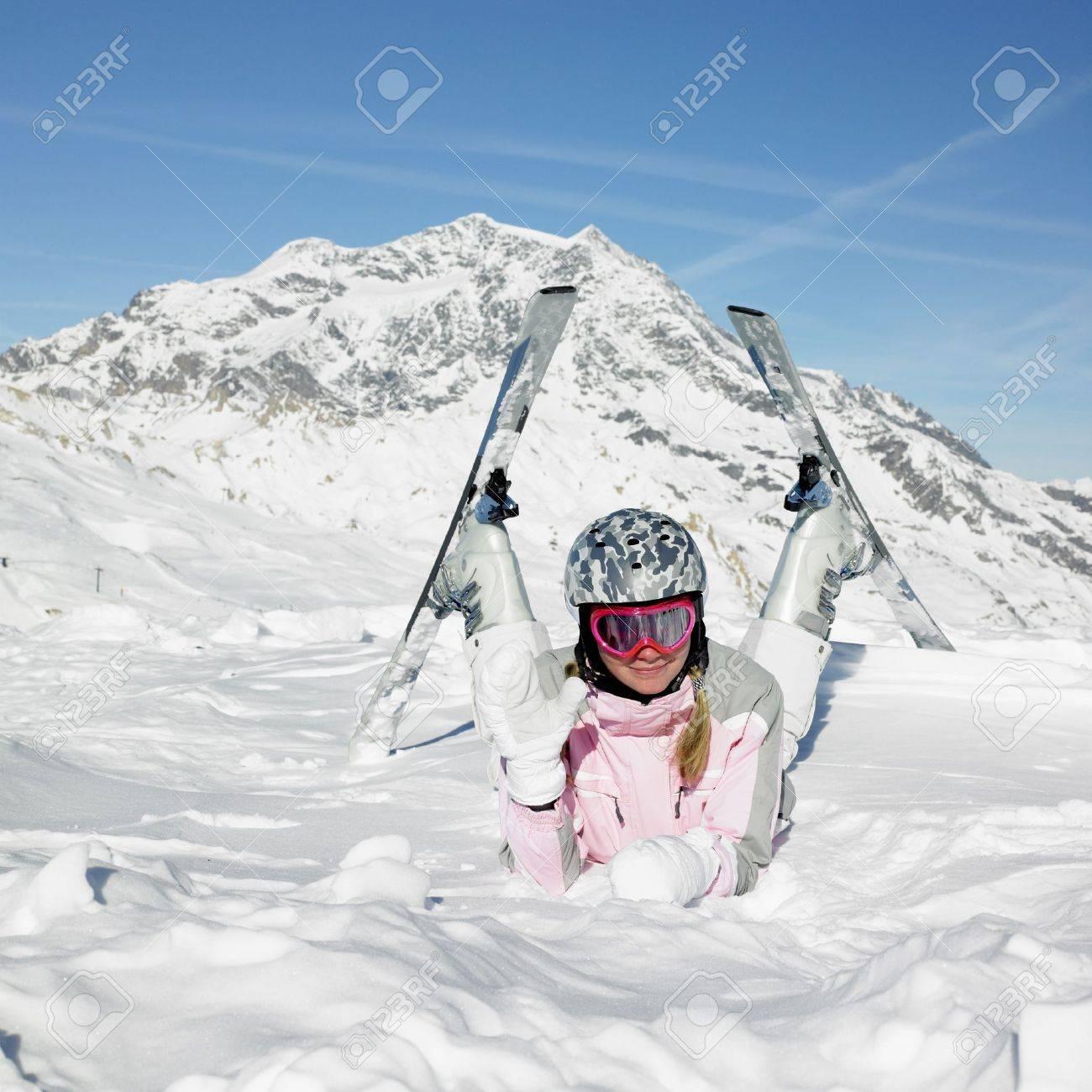 woman skier, Alps Mountains, Savoie, France Stock Photo - 8336056