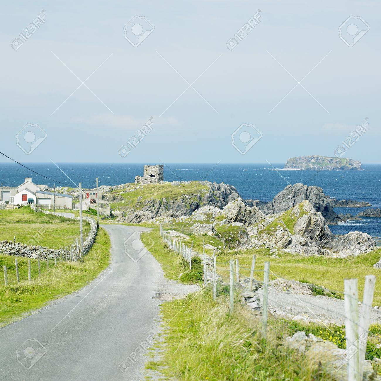 ruins of Carrickabraghy Castle, County Donegal, Ireland Stock Photo - 8339024