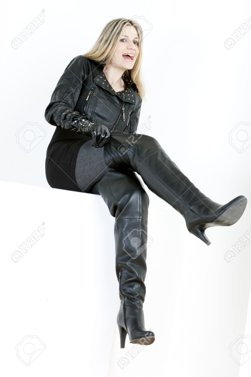 Sitting Woman Wearing Fashionable Black Boots Stock Photo, Picture ...