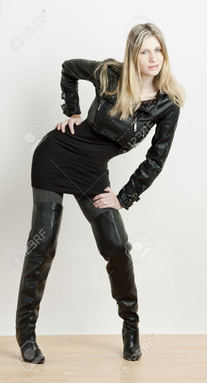 Standing Woman Wearing Fashionable Black Boots Stock Photo ...