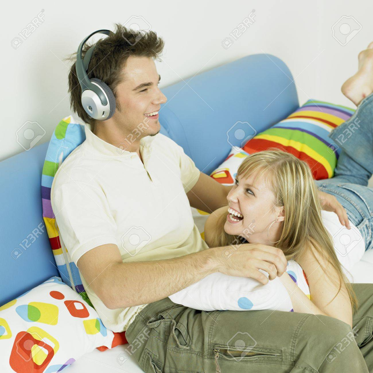 couple listening to music Stock Photo - 9018248