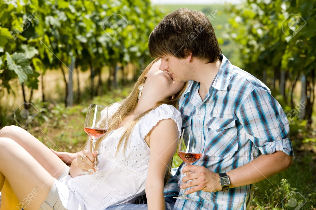 couple at a picnic in vineyard Stock Photo - 9578507
