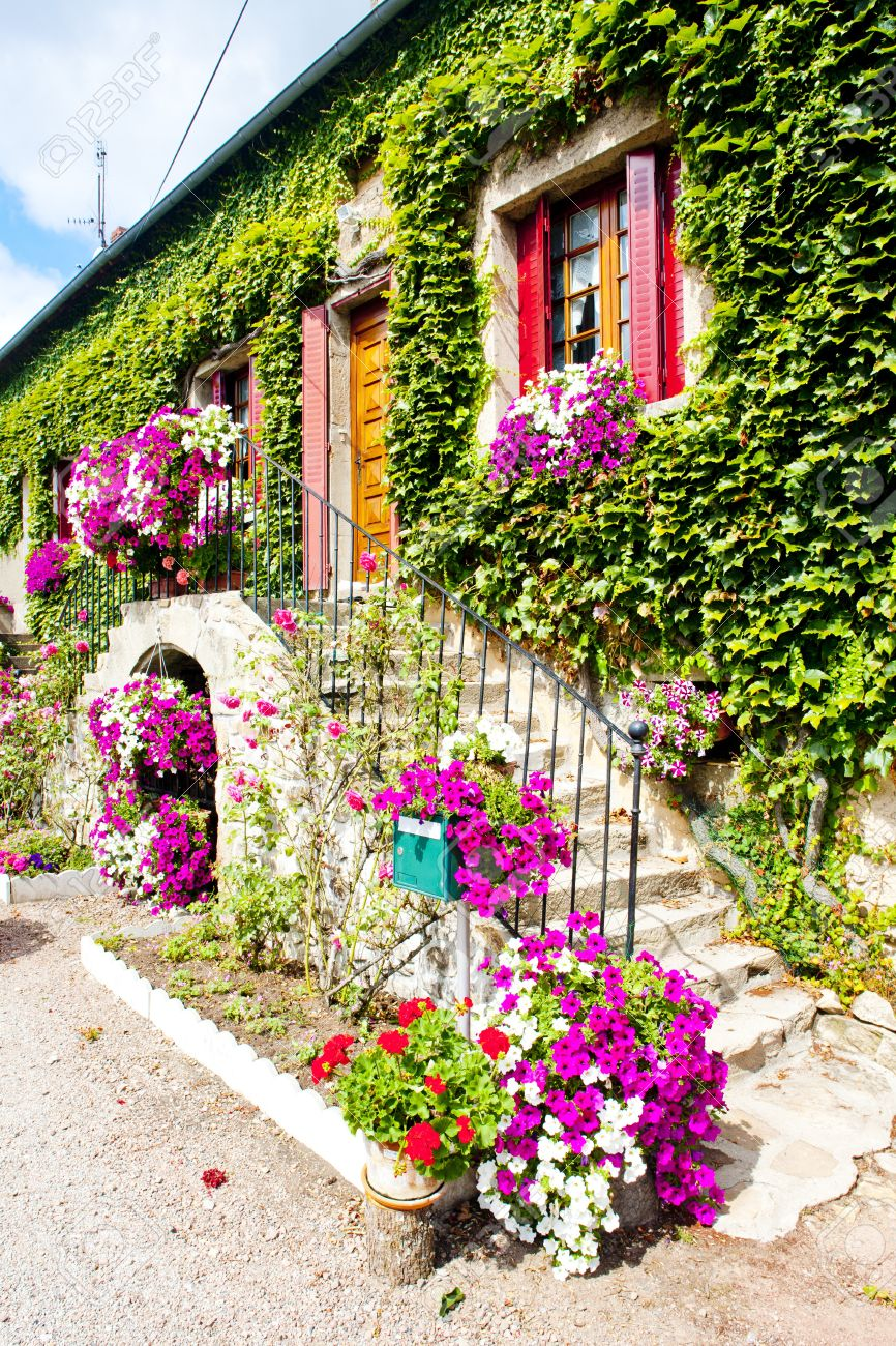 house with flowers, burgundy, france stock photo, picture and