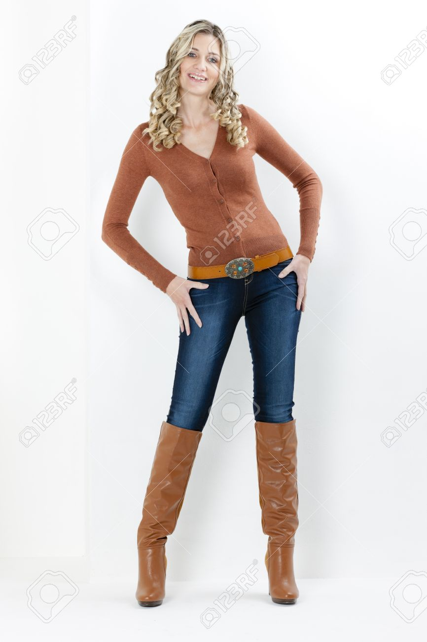 Standing Woman Wearing Fashionable Brown Boots Stock Photo ...
