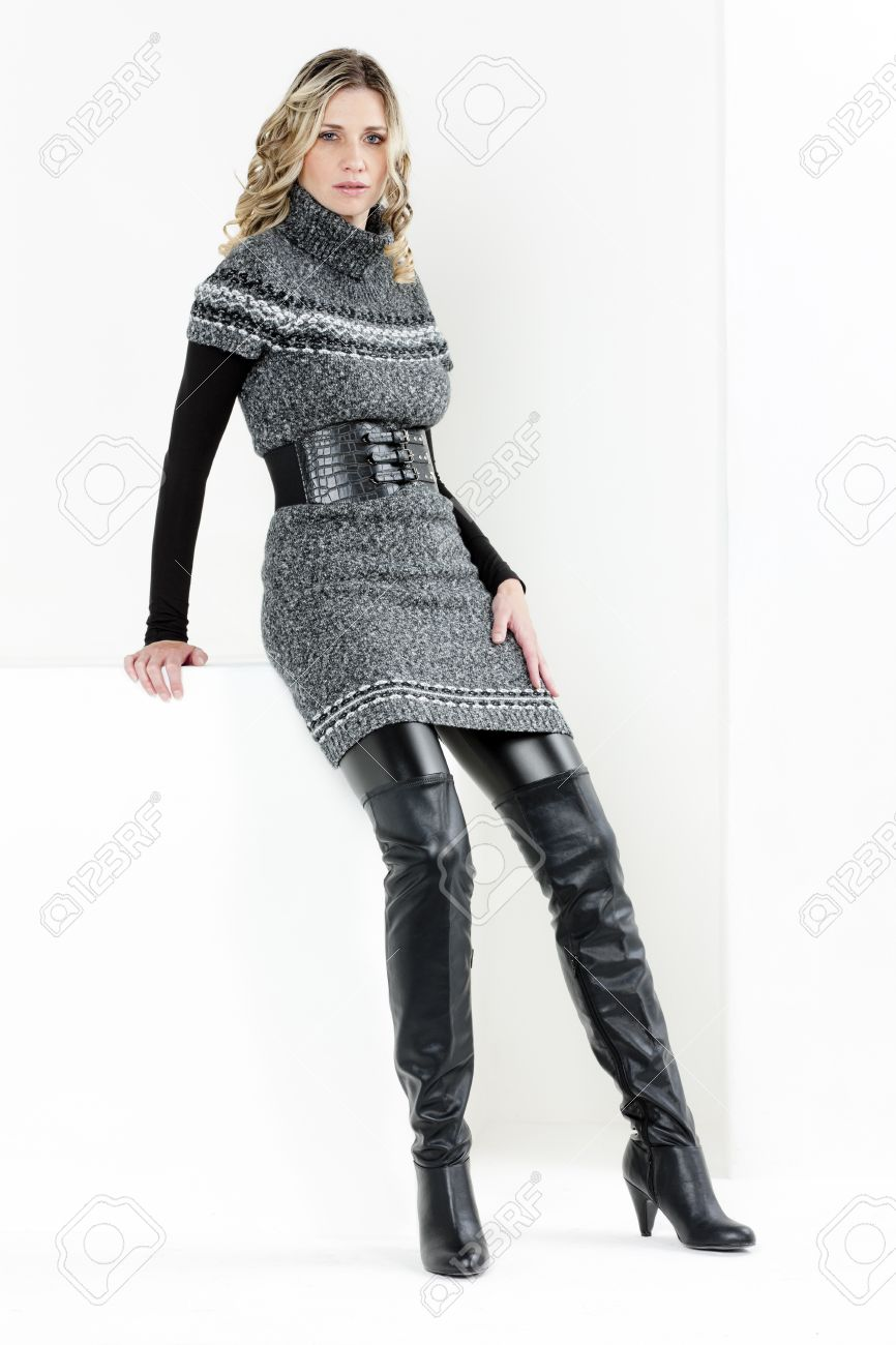 Sitting Woman Wearing Dress And Black Boots Stock Photo, Picture ...