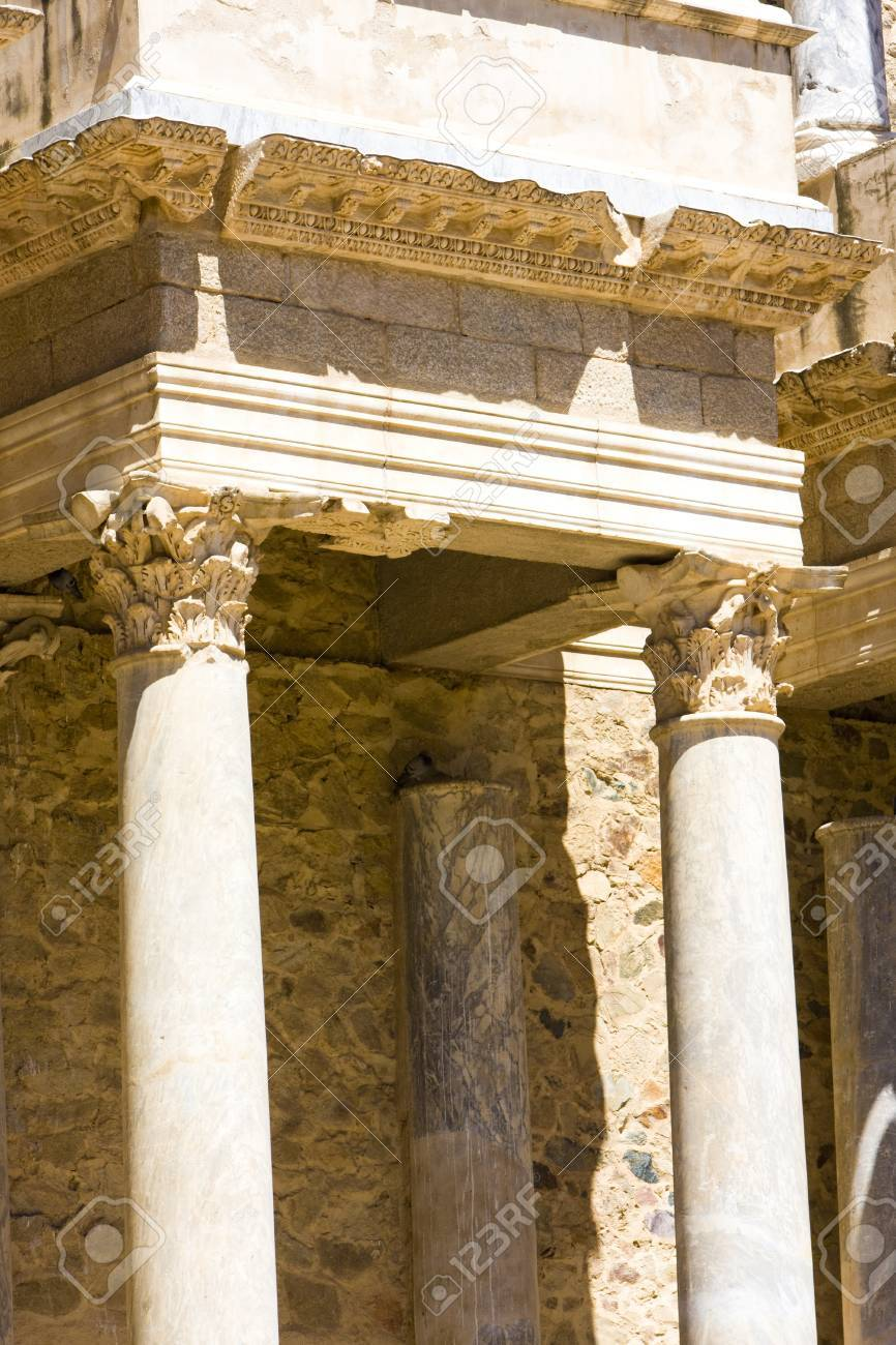 detail of Roman Theatre, Merida, Badajoz Province, Extremadura, Spain Stock Photo - 12099328