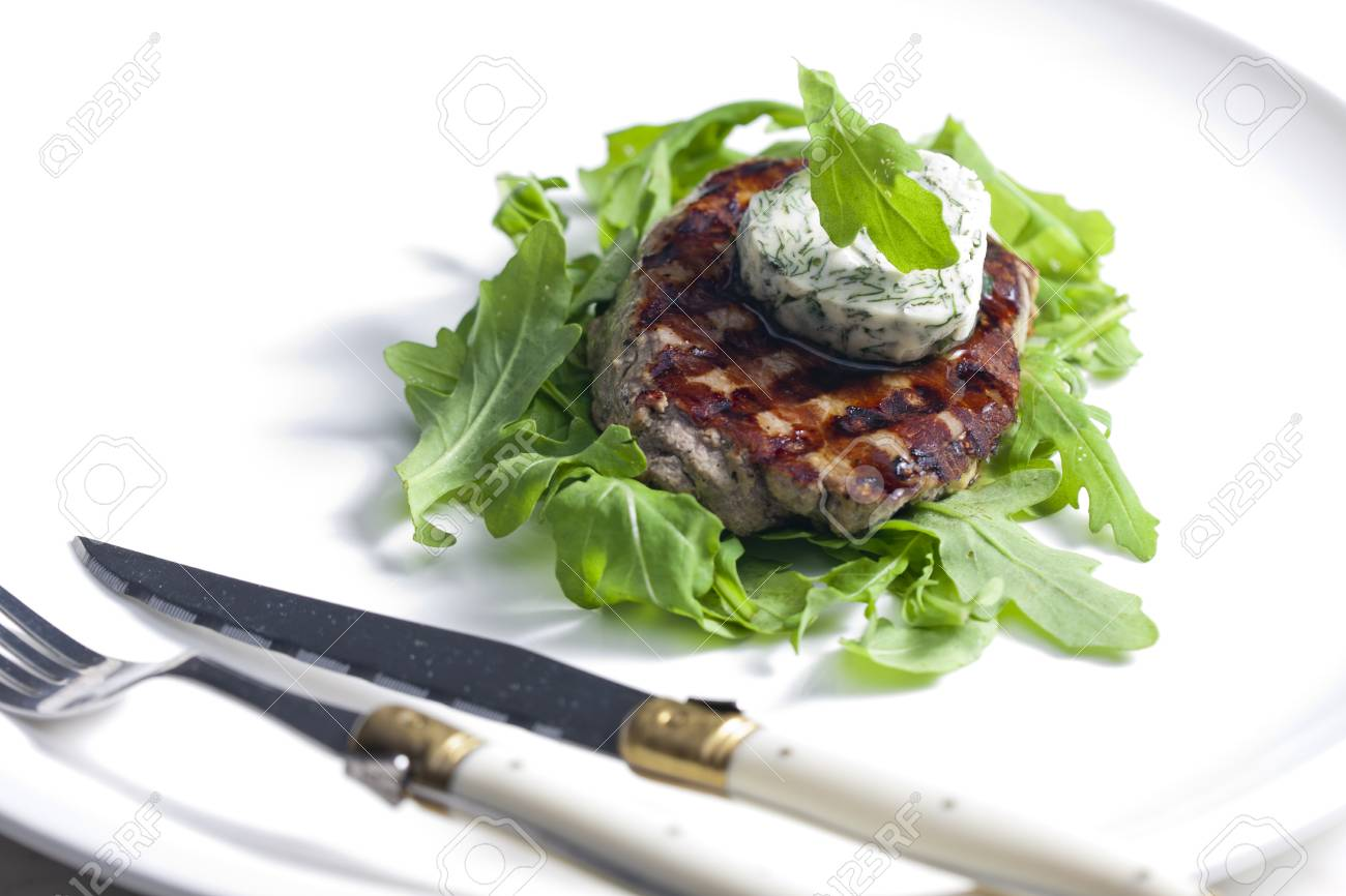 grilled beefsteak with herbal butter Stock Photo - 13523443