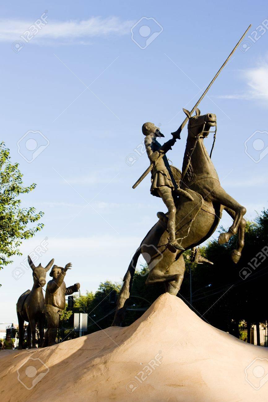 Statue Of Don Quijote, Campo De Criptana, Castile-La Mancha,.. Stock ...