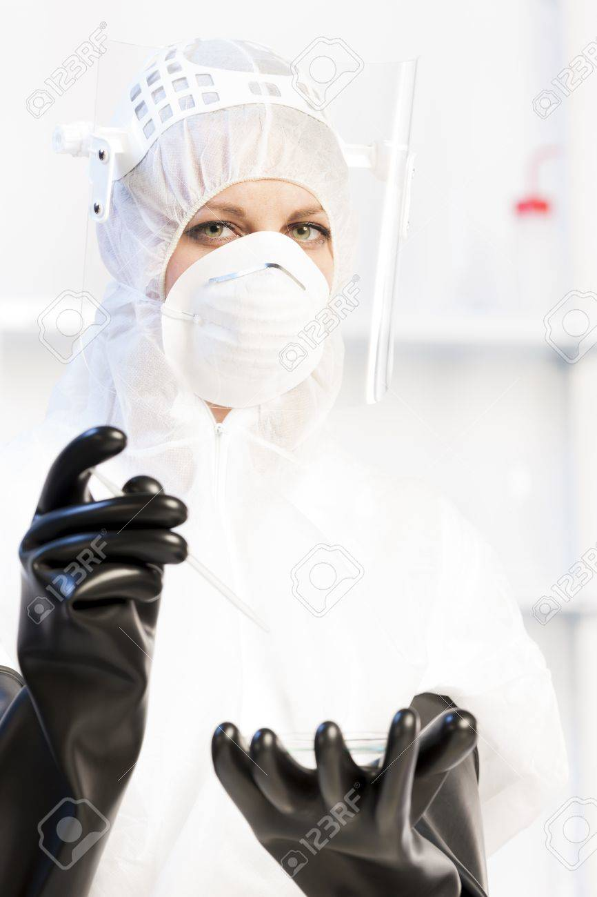 young woman wearing protective clothes in laboratory Stock Photo - 15466612