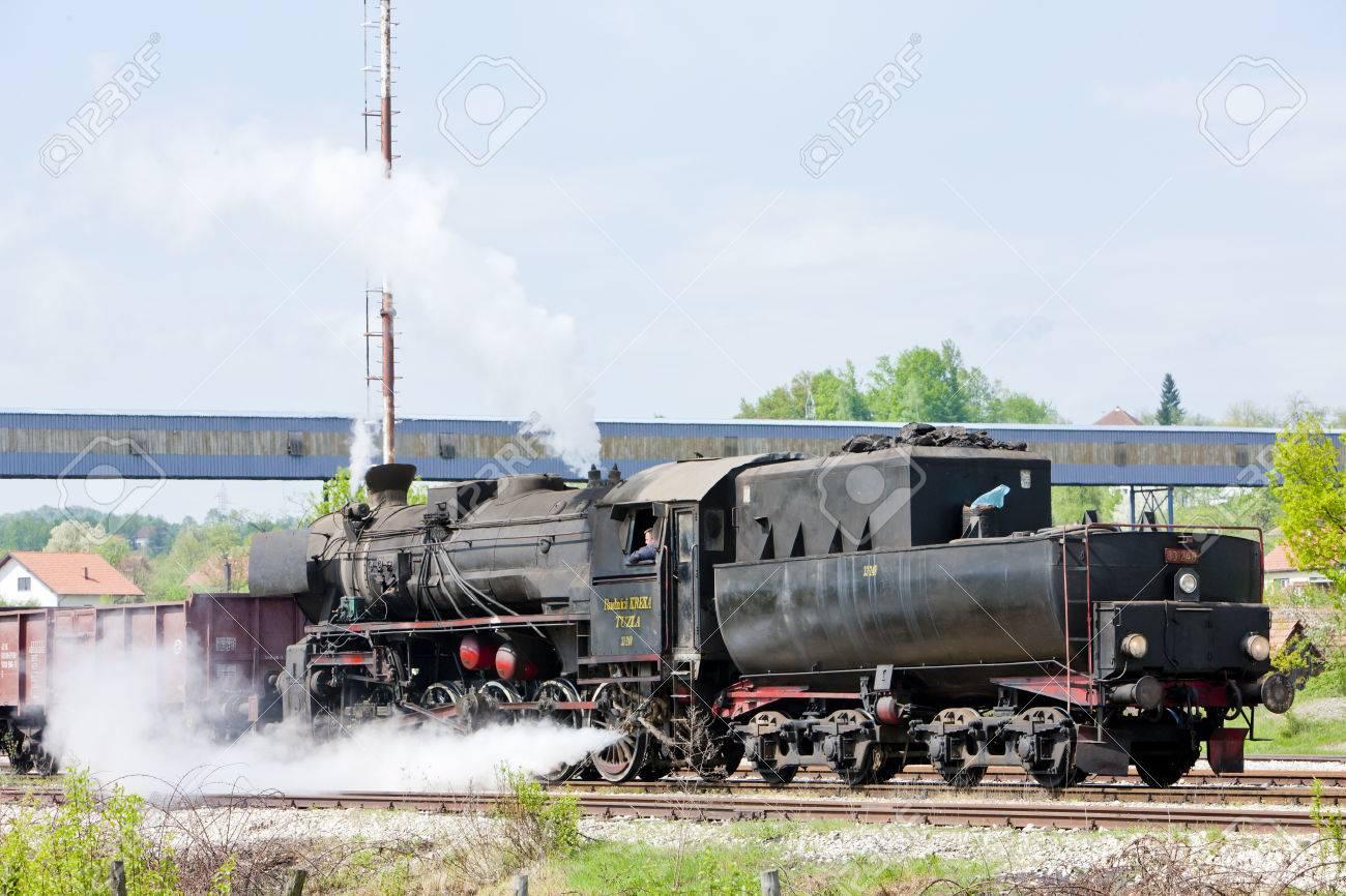 steam freight train in Tuzla region, Bosnia and Hercegovina Stock Photo - 28239622