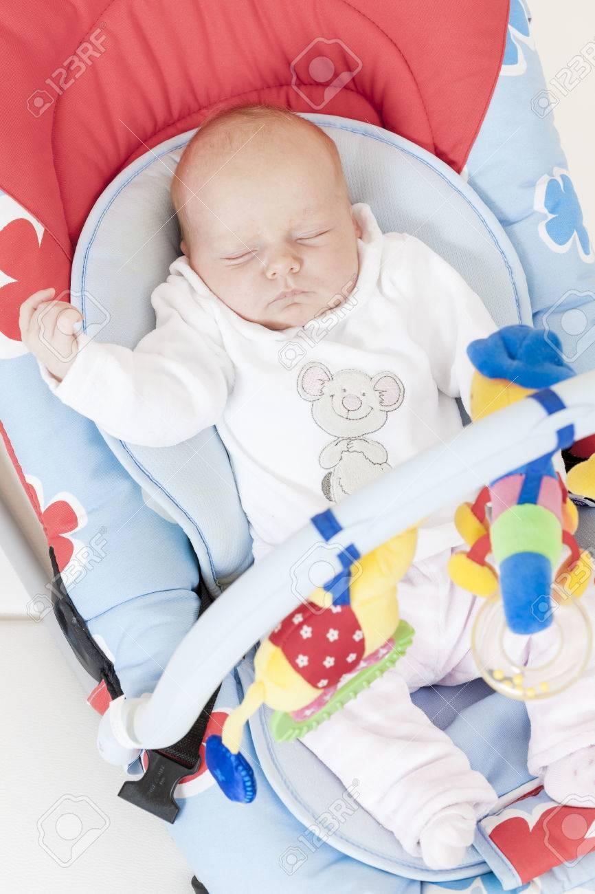 one month old baby girl sleeping in babyu0027u0027s chair Stock Photo - 52198365 & One Month Old Baby Girl Sleeping In Babyu0027u0027s Chair Stock Photo ...