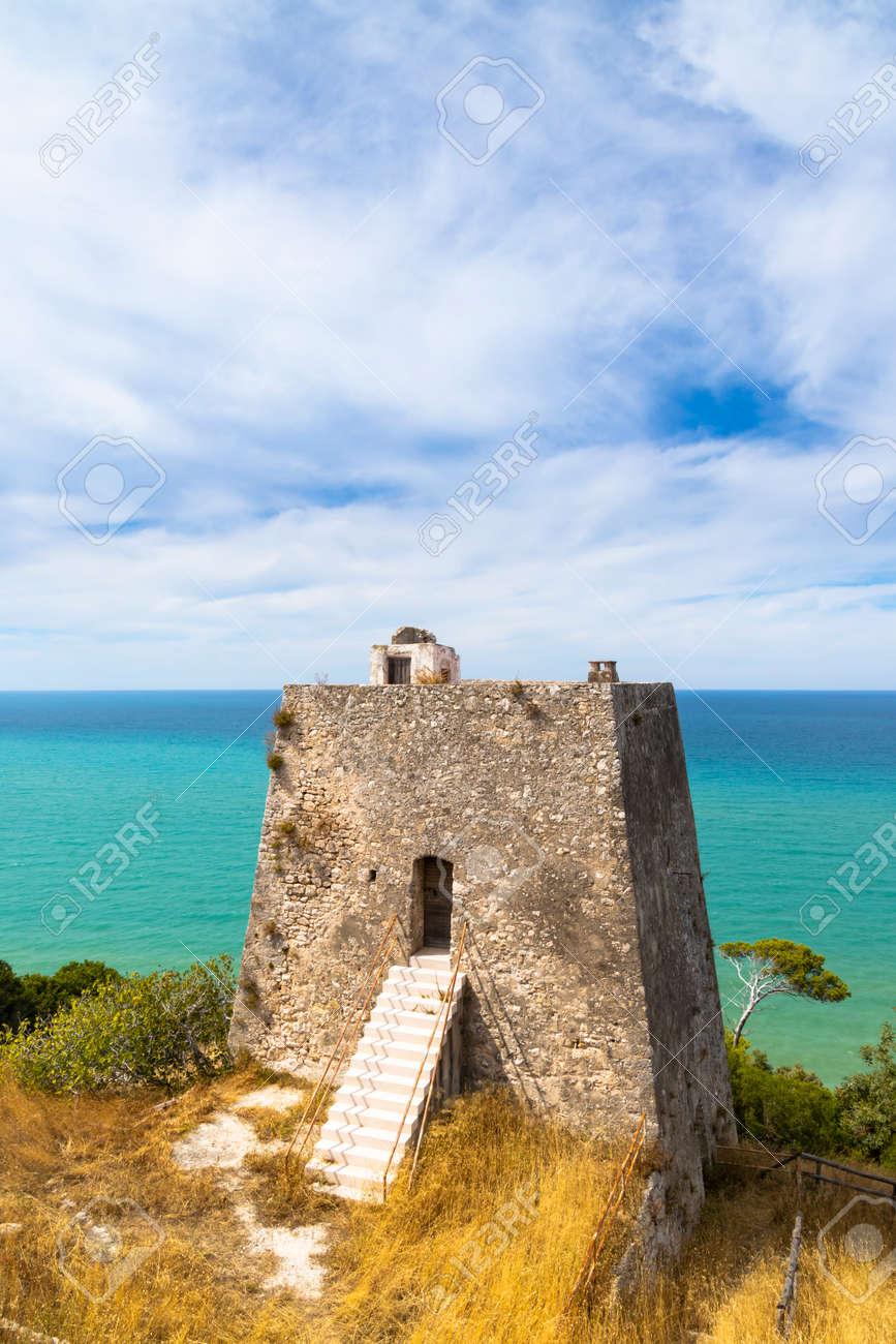 Torre di Monte Pucci near Baia Calenella beach, Vico del Gargano, Foggia, Italy - 169975938