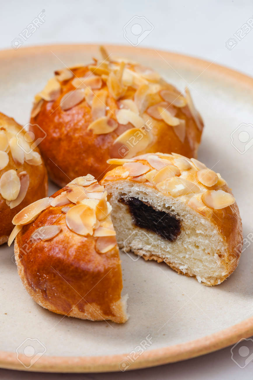 almond pastry filled with plum jam - 169976225