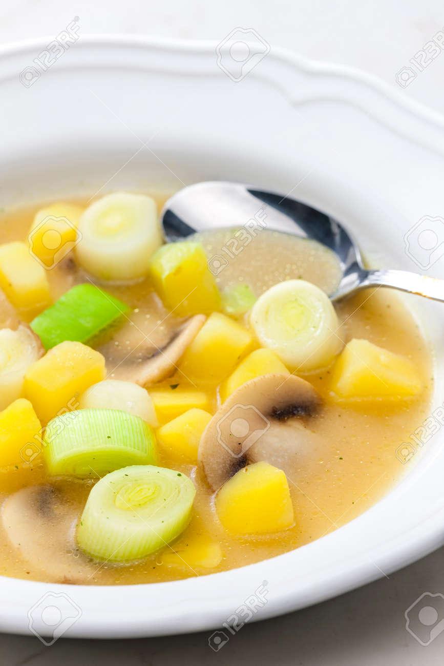 still life of vegetables soup with mushroom - 169975891