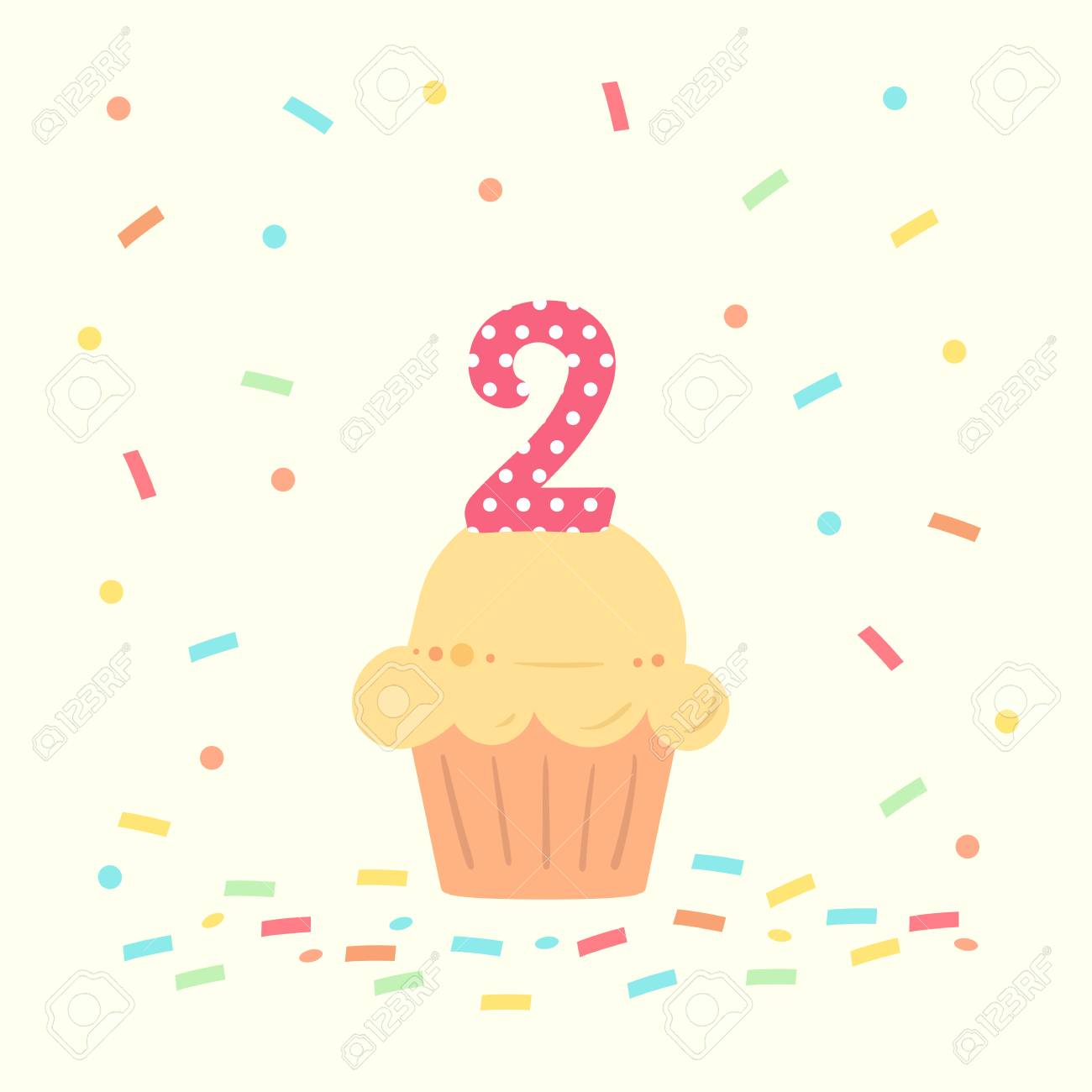 happy second birthday card with cupcake and number two in flat design style, vector illustration. - 110297919