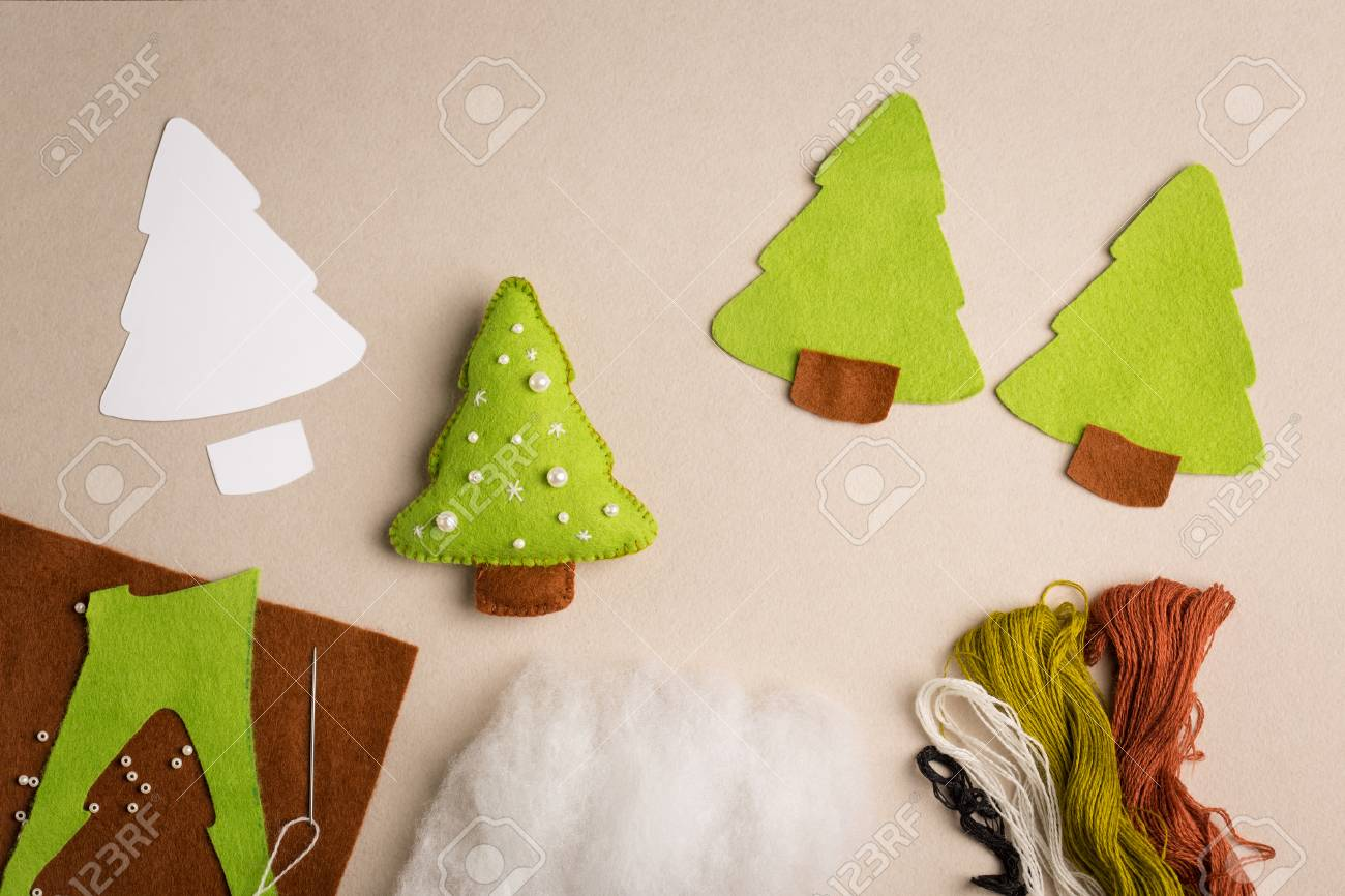 Cut Out Details Fur Tree Toy Fabric Crafts For Kids Step By Stock