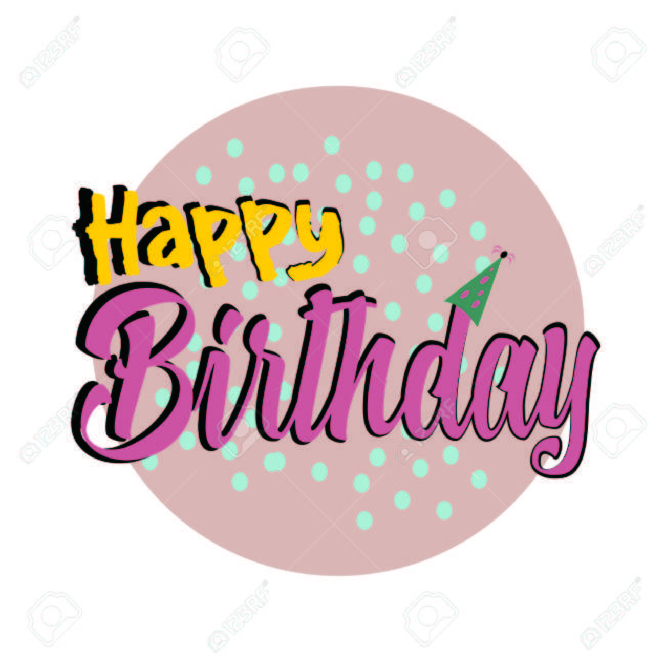 The Word Happy Birthday To You Vector Banner With Text Color Stock