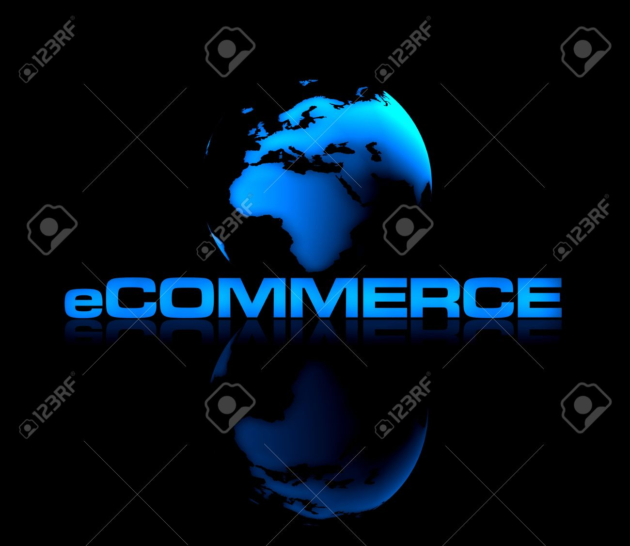 E commerce background images - Abstract Shiny Globe On Black Background With Ecommerce Type In Front Stock Photo 922642