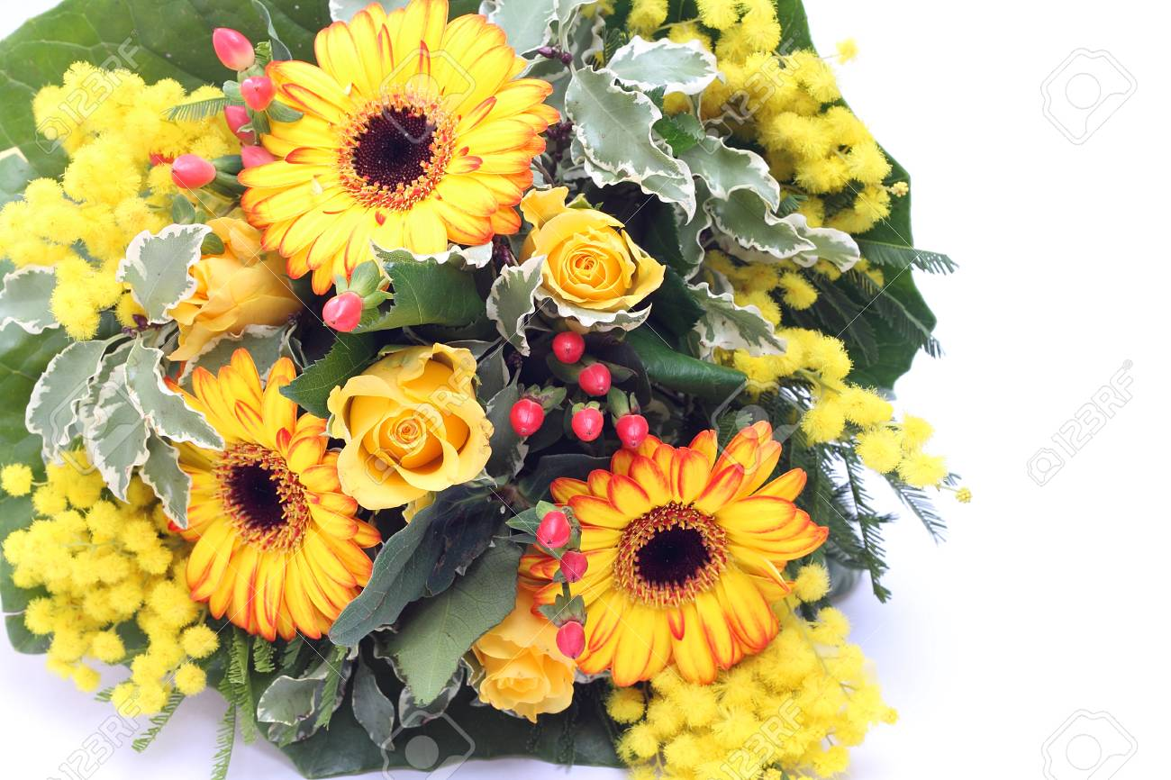 Bunch Of Yellow Flowers And Mimosa Stock Photo Picture And Royalty