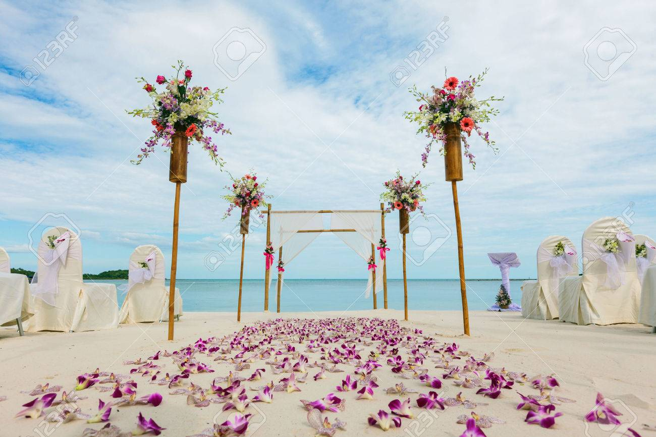flower setting on the beach - 51240615
