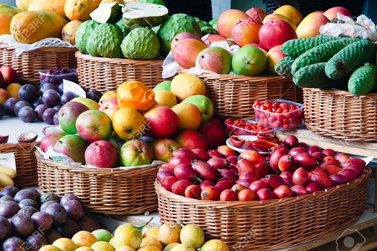 Close-up of a fruit and vegetable stall in Funchal covered market Stock Photo - 8328587