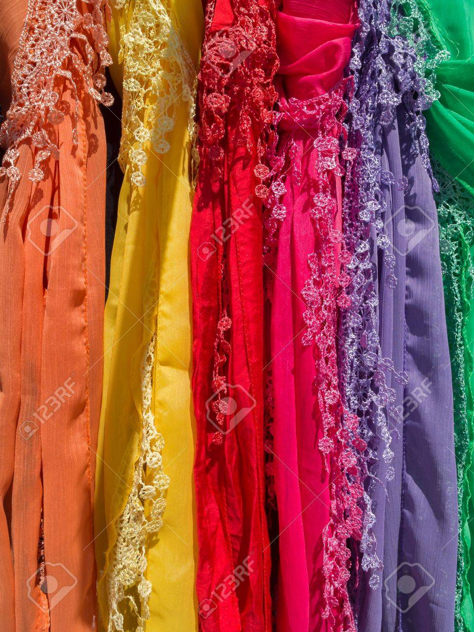Silk scarves on display at a market stall in Fuengirola Stock Photo - 13858175