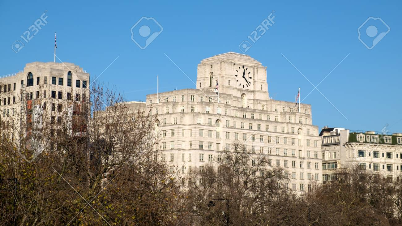 Victoria Embankment London Shell Mex Building Stock Photo Picture