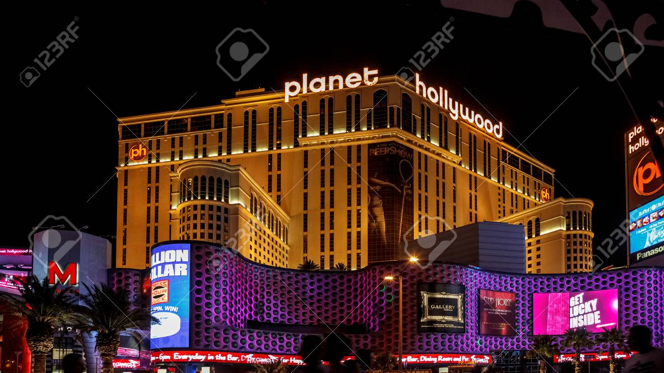 Night Scene Along The Strip Towards Planet Hollywood In Las Vegas