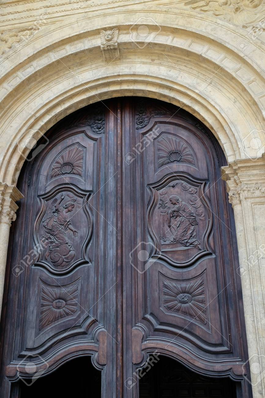 MALAGA ANDALUCIA/SPAIN - JULY 5  Old Wooden Doors to the Cathedral in & MALAGA ANDALUCIA/SPAIN - JULY 5 : Old Wooden Doors To The Cathedral ...