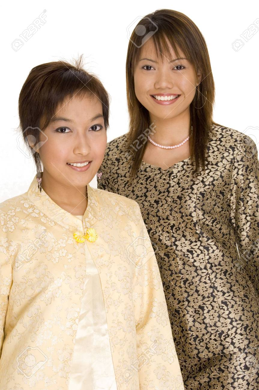 Two young asian females in different traditional dress Stock Photo - 221061