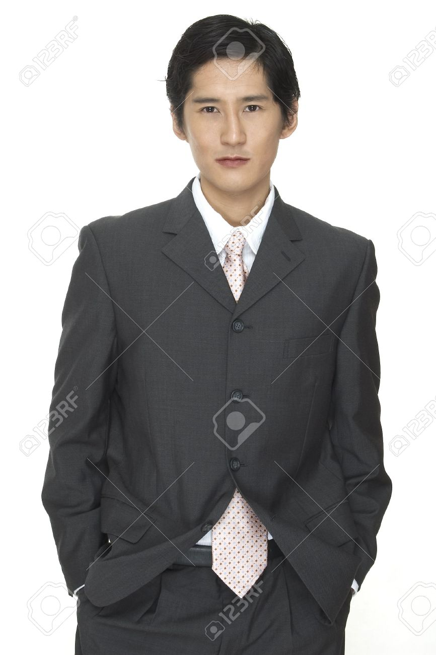A Smart Asian Businessman In Grey Suit With White Shirt And Pink ...