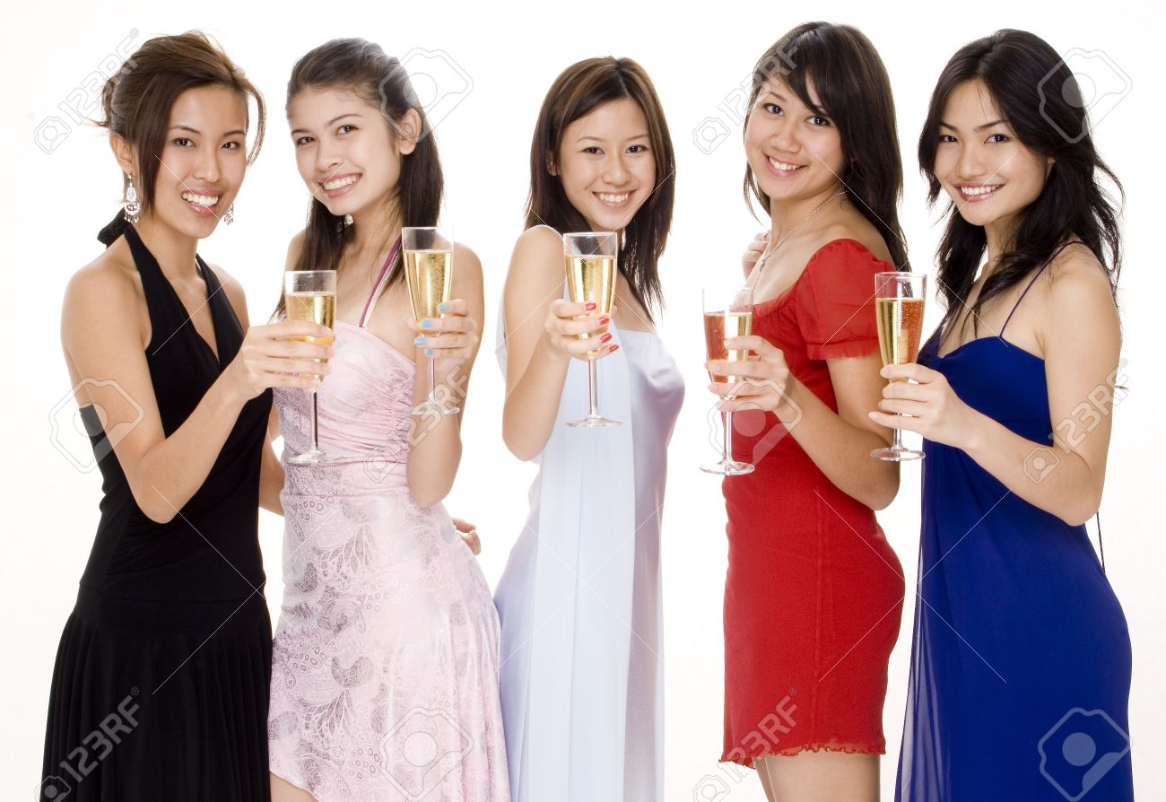 3862372eca3 Five Attractive Young Asian Women In Evening Wear Toast With.. Stock ...