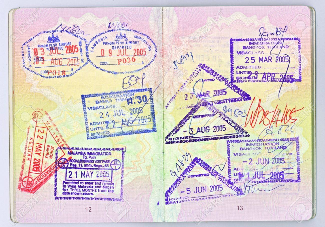 A high-res scan of two pages of a British passport with visas
