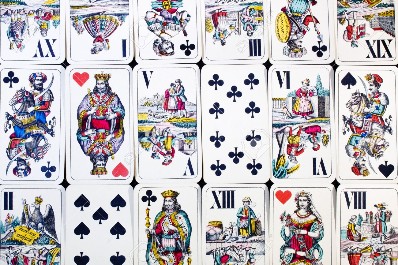 Closeup of some hungarian playing cards. Also called Doppeldeutsche, William Tell or Four Seasons deck. Stock Photo - 10981156