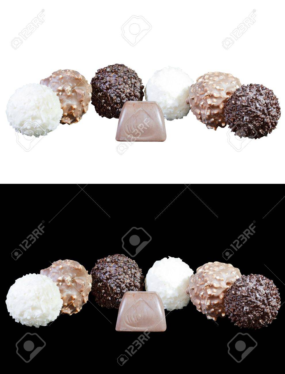 set of luxury chocolates in white, black and milk chocolate, isolated on white and black background Stock Photo - 11492571