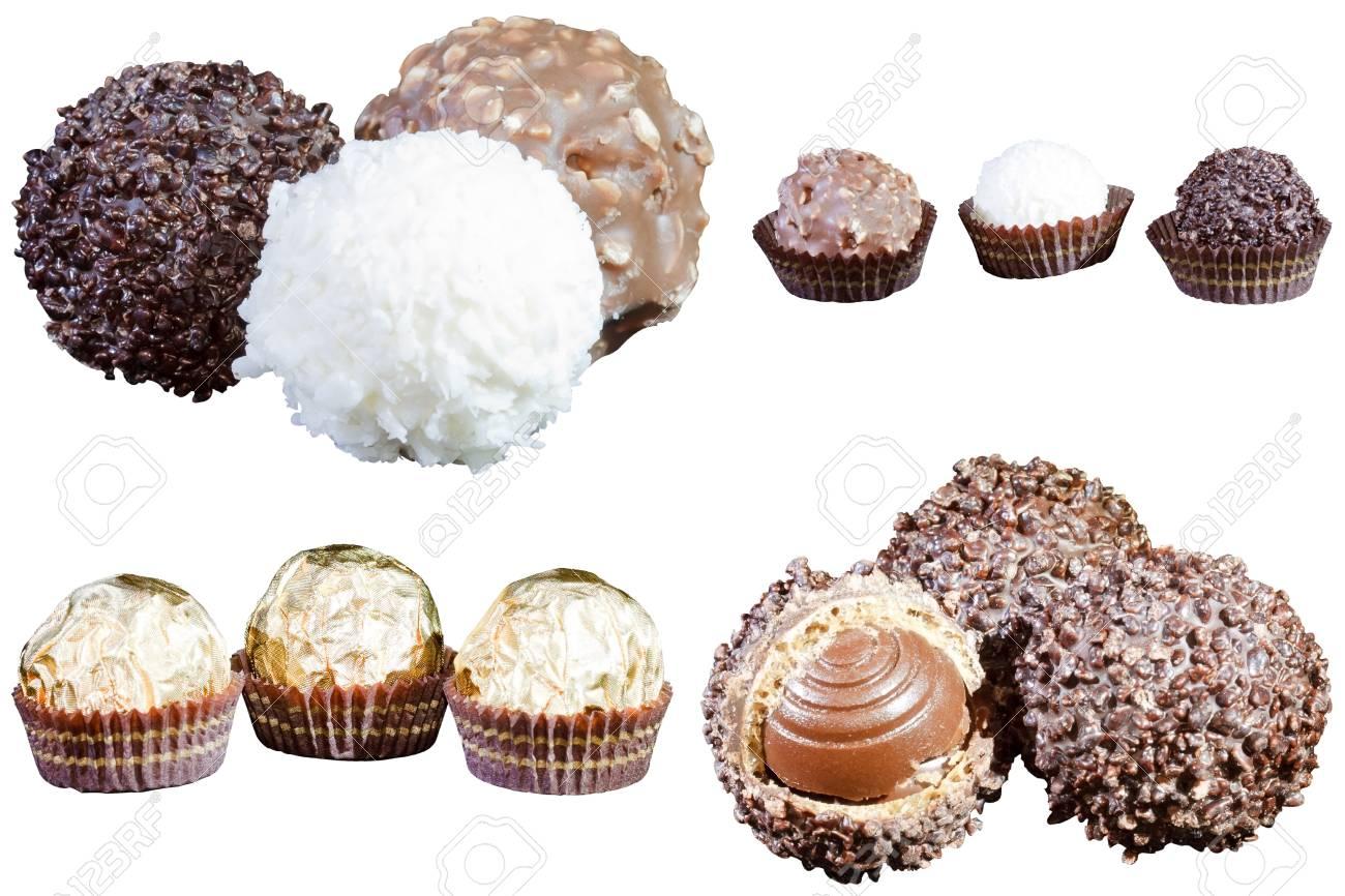 set of luxury chocolates in white, black and milk chocolate, isolated on white background Stock Photo - 11492608