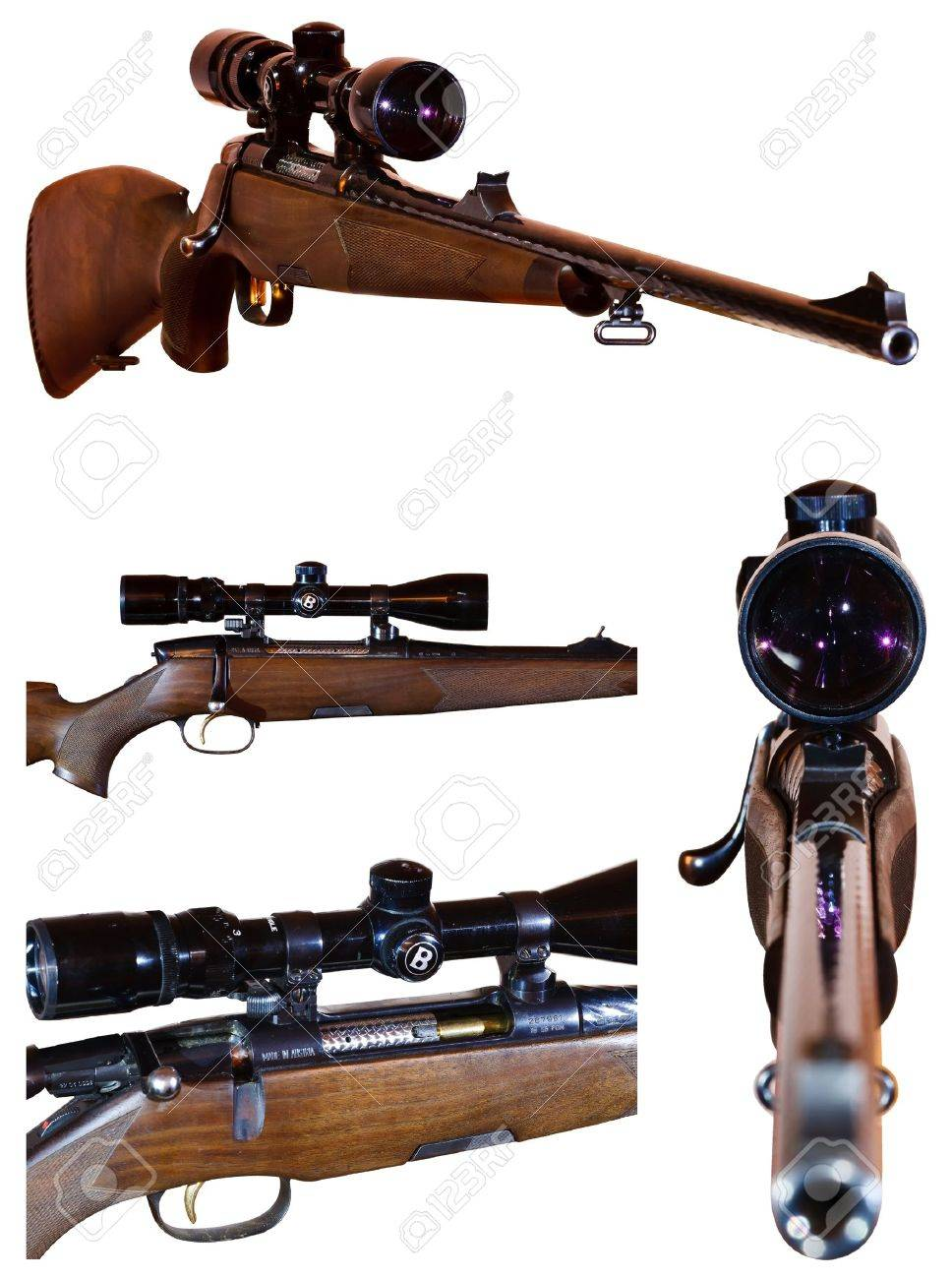 photo set of sniper rifle with telescopic sight, isolated on white background Stock Photo - 11492581
