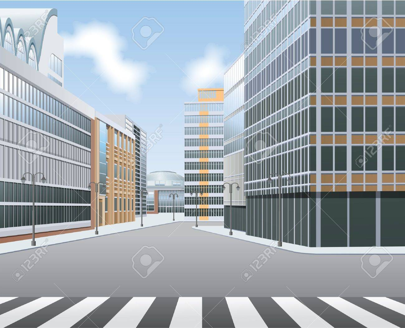 City high street, town centre Stock Vector - 12495442