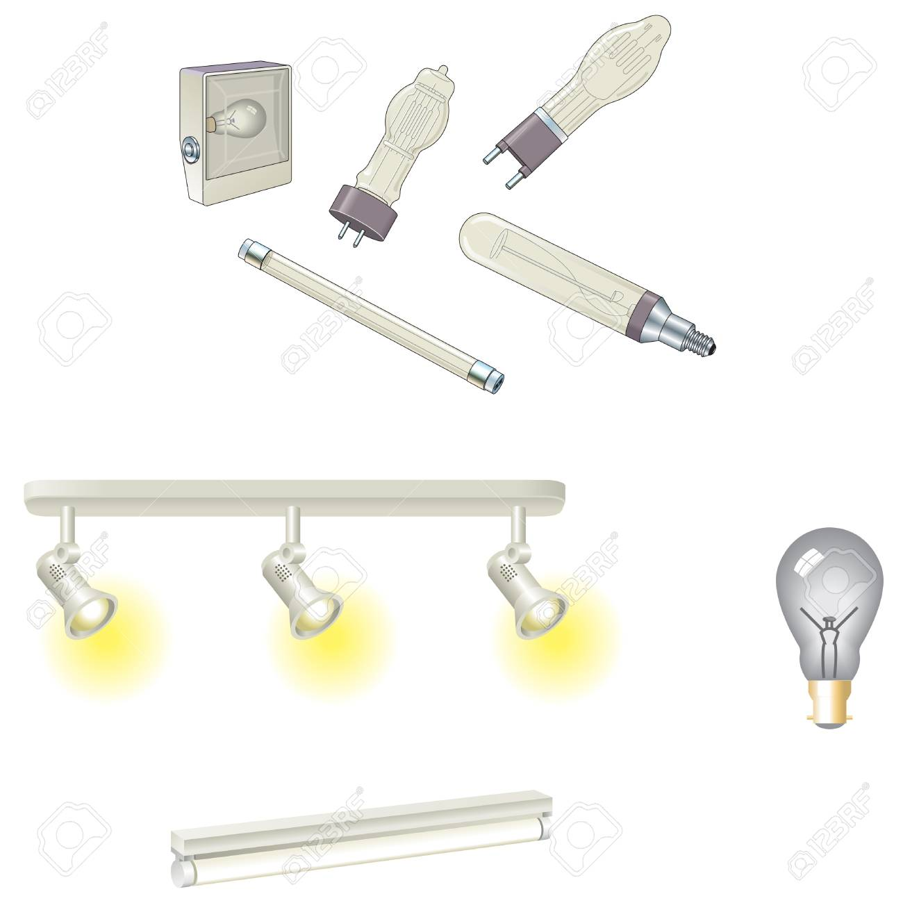 Bulbs and tungsten and fluorescent lamps Stock Vector - 12495436