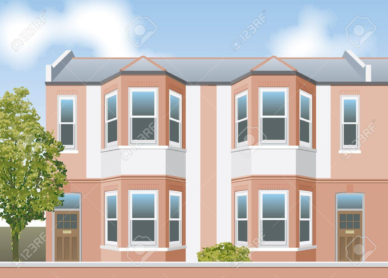 Victorian style terraced houses elevation Stock Vector - 13477250