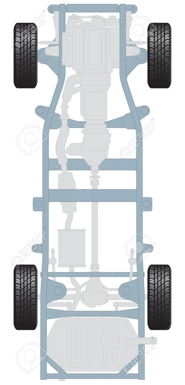 car chassis plan view with engine and transmission royalty free