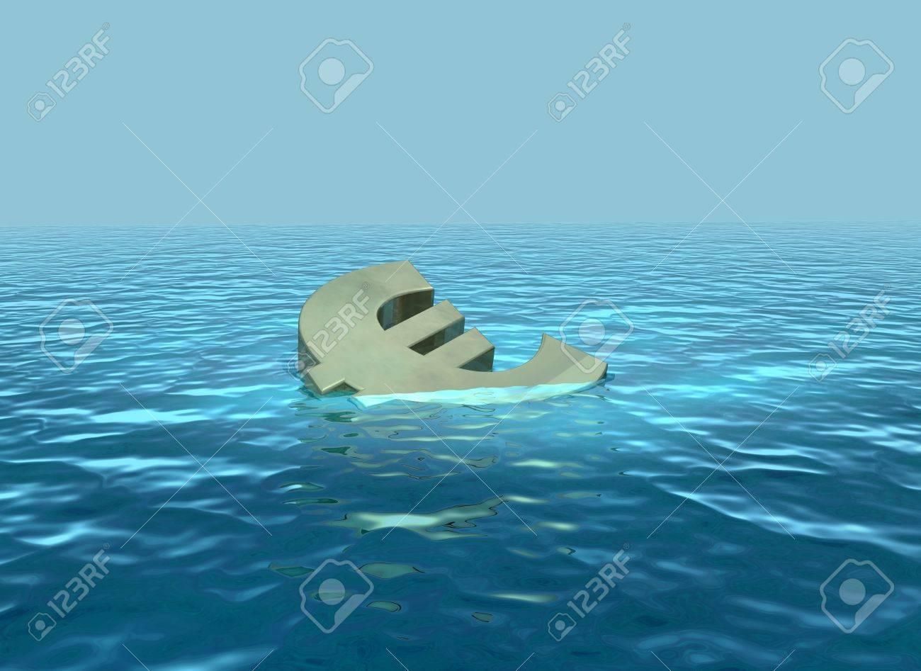 The euro sinking or struggling economy Stock Photo - 13532683