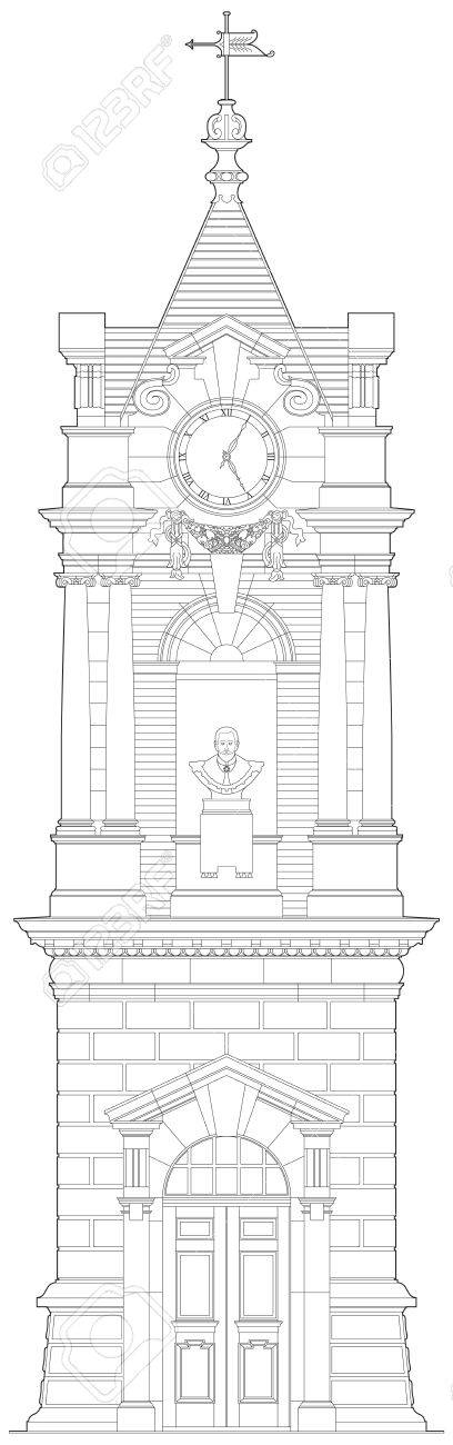 Old clock tower detailed elevation Stock Vector - 13532705
